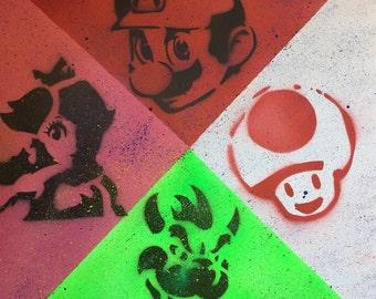Mario Canvas Acrylic Artistik Nintendo Artwork
