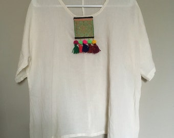 Bohemian blouse with colorful tussels