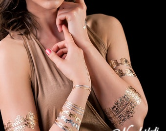 Wundertats Jumeirah Collection - 3 sheets of jewellery-inspired metallic tattoo in an elegant gift envelope