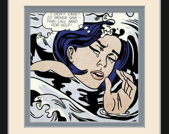Drowning Girl by Roy Lichtenstein Pop Art Custom Made Picture Frame  Double Mat