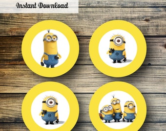 Minions Cupcake Toppers, Labels, Stickers, 2 Inch