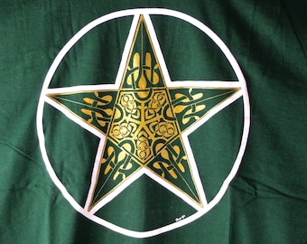 Celtic Pentagram T-Shirt, Celtic shirt with pentacle, forest green t-shirt with white and gold Celtic pentagram, original celtic t-shirt