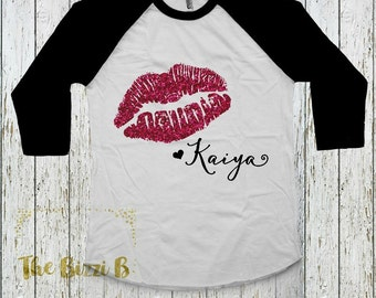 Valentines Day Glitter Lips Raglan Girls Infant Baby Toddler Happy Valentines Day Top Shirt Kiss Me Personalized