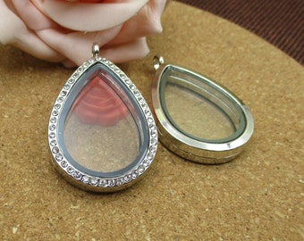 Large Teardrop Floating Glass Locket With Diamond(Can Open)-p1486