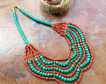 Boho Style Turquoise and Coral Necklace / Statement Necklace / Bib Necklace - Beaded Jewelry