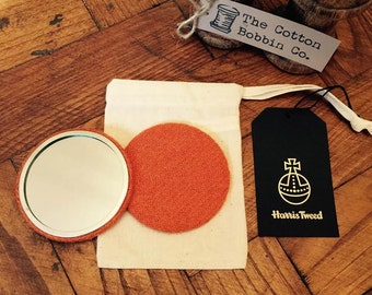 Harris Tweed Orange Pocket Mirror Large 77mm & Authenticity Tags and Cotton Bag Stocking filler Luxury Tweed Gifts for Her Gifts for Mum