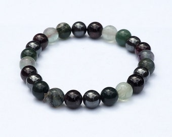 Gemstone Bracelet with Moss Agate, Hematite, Garnet, Fluorite for Letting Go of the Past/Healing Crystal Jewelry/Reiki Bracelet