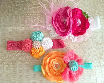 M2M Matilda Jane Fresh Fruit MJ Made to Match Headband over the top satin rolls lace bow