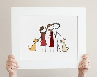 Custom Simple Stick Figure Family Portrait - Family Drawing/Family Illustration/Family Photo