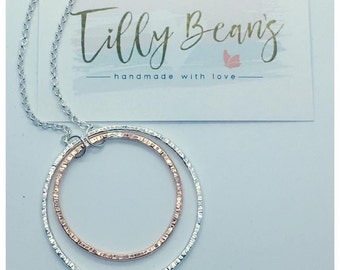 Sterling silver and copper hoop necklace