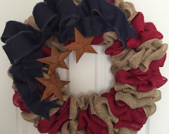 Patriotic Burlap Wreath, indoor or outdoor decoration, Memorial Day Wreath, 4th of July Wreath, Labor Day