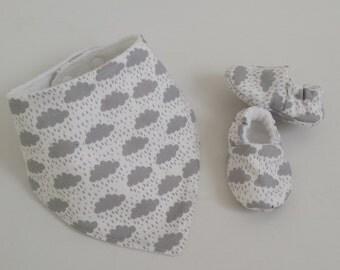 Baby cloud bib, babies bandana bib,  girls boys grey cloud dribble bib, newborn gift, bib & shoes, baby set bib, cloud bib, baby shoes