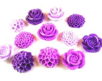 6 Purple Cabochon Flower Magnets