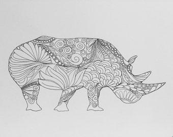 Zentangle rhino,rhino art,safari animal,zentangle art,pen ink, black white rhino, wall art, wall decor