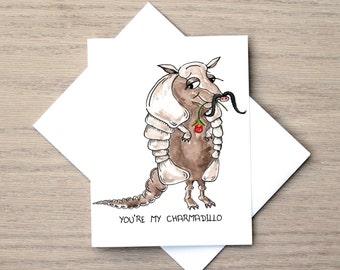 Armadillo Card, Relationship Card, Love Card, Friendship Card, Cute Love Card, Animal Card, Reptile Card