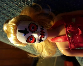 Red and Black Day of the Dead Barbie