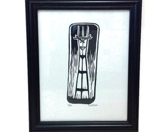 Linocut Print of San Francisco Sutro Tower - Eric Rewitzer Lithograph