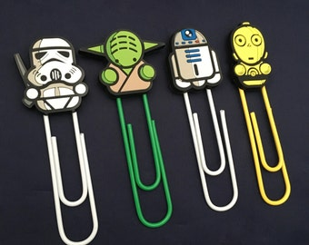 Star Wars Handmade Plastic Rubber Cartoon Character Bookmark Paperclip Stormtrooper Yoda R2D2 C3PO
