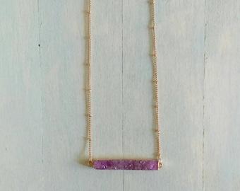 Crystal Bar Necklace Purple