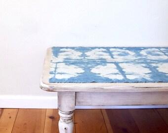 Raw Silk Noil Indigo Table Runner Natural Dyes