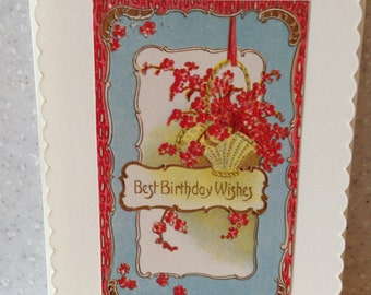 """Greeting Card """"Best Birthday Wishes"""" - Vintage Postcard Reproduction with Envelope"""