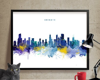 Chicago skyline, Chicago Cityscape, Watercolor Chicago, Chicago Art, Wall art, Chicago Print, Cityscape, City Wall art, Art Print (345)