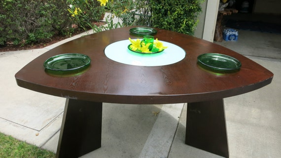 Unique triangle shape dining table with glass lazy by for Unique shaped dining tables