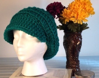 Crocheted Newsboy Hat Emerald Green