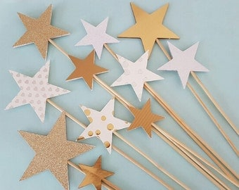 Twinkle Twinkle Little Star Cake Topper. Glitter, Gold, White & Silver 6 Piece Star Cake Topper. 1st Birthday Party. Baby Shower