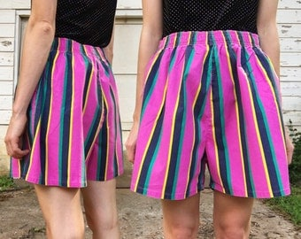 Vintage 80s Adesso High Waisted Stretchy Hot Pink Green Yellow Vertical Striped Short Shorts M/L