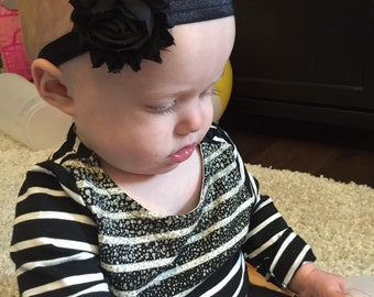 single shabby rosette headband- newborn, baby, toddler bow
