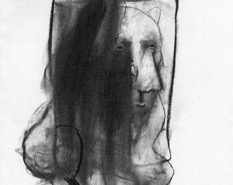 Figurative Charcoal Drawing ' Good Boy'  - Giclee Print -