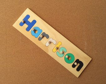Name Puzzle 8 Letters  | add personalized engraved message on back for a keepsake gift. Shapes available in other listings