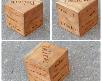Custom 5th Wedding Anniversary,  Solid Wood Cube Paperweight, Valentines Day Gift