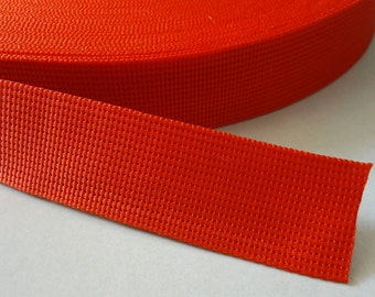 5 Yards, 1.25 inch (3.2 cm.), Polypropylene Webbing, Red, Key Fobs, Bag Straps, Purses Straps, Belts, Tote Bag Handle.
