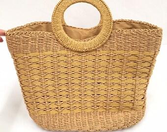 Vintage Woven Wicker Handbag