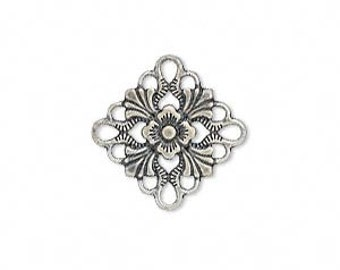 Silver Link, Filigree Square, Antiqued Silver Plated Brass, 20x20mm, 8 each D291