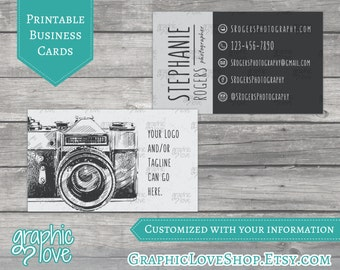 Printable Vintage Camera Photography Double Sided Business Cards | Digital JPG, PNG & PDF Files