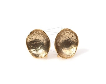 ERG-073-MG/4Pcs-Textured Round Cup Ear Post/ 12mm x 12mm /Matte Gold Plated over  Brass/925 sterling silver post
