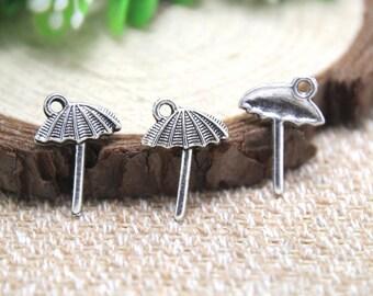 40pcs Beach Umbrella Charms Antique Tibetan silver Beach Umbrella charm pendants 13x18mm D1888
