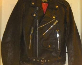 Vintage Swedish Leather Cafe Racer style Motorcycle Jacket