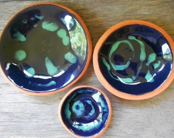 Crab picking bowl set small pottery bowls rustic ceramic bowl set condiment sauce dipping oil bowls hostess gift navy blue dinnerware