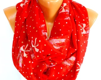 Red Scarf, Scarves, Christmas Shawl, infinity Scarf, Red Viscose scarf, Lightweight Summer Scarf, Gift for Mother's Day, for Christmas