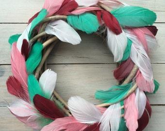 Whimsical Christmas feather wreath