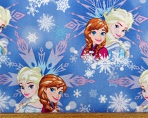 Disney Frozen Sisters Elsa Anna Magic Winter Snowflakes Character Cotton Print Fabric per fat quarter per metre FQ