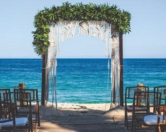 8' x 6' Macrame wedding arch, wedding backdrop, chuppah, bohemian wedding, rustic wedding, beach wedding, fairytale wedding, boho bride