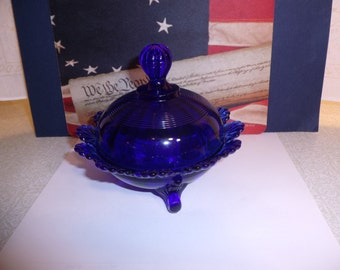 Cobalt Blue Glass Klondike Butter or Candy Dish