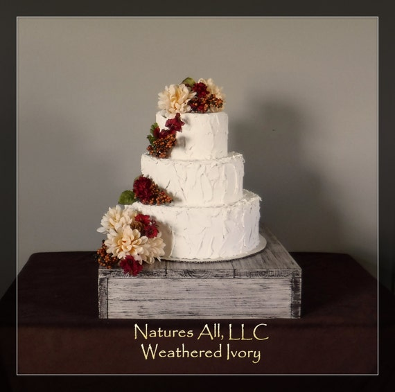 "16"" Rustic Wedding Cake Stand-Weathered Ivory/Country Wedding Decor/Rustic Cake Stand/Shipping Included:Item# CS-4222"