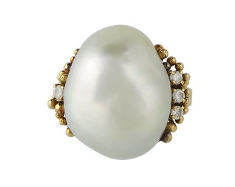 18K Gold Diamond Cultured Baroque Pearl Ring in Original Box