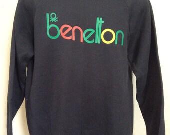 Vtg 80s Early 90s Benetton Raglan Crewneck Sweatshirt Black L 50/50